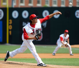 Jose Alvarez picked up his seventh win in yesterdays 12-2 pasting of Oneonta, tying a Spinners franchise record for wins in a season